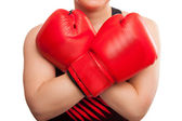 Sport young woman boxing gloves, face of fitness girl studio isolated on white — Stock Photo