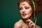 Portrait with art make up flowers face — Stockfoto