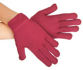 Red gloves on hands — Stock Photo