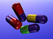 Many colorful pills — Stock fotografie