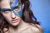 Close up color women face art — Stock Photo