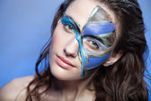 Close up color women face art — Stock Photo
