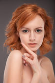 Portrait of a sensuality redhead girl with natural make-up — Stock Photo