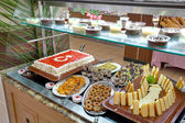 Buffet breakfast in residential complex in Side — Stock Photo