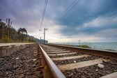 Spoorweg in de buurt van ocean — Stockfoto