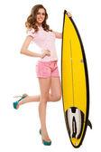 Woman posing with a surfboard — Foto de Stock