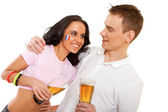 Couple clinking with beer — Stock Photo
