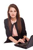 Businesswoman  sitting using laptop — Stockfoto