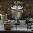 Old samovar, coffee grinder, oil lamp, coffee maker — Stock Photo