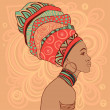 African woman in turban — Vector de stock