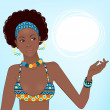 Portrait of beautiful African woman — Stock Vector