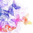 Background with butterflies and flowers — Stockvektor