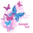 Background with butterflies and flowers — Stock Vector #37518957