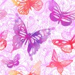 Stock Vector: Background with butterflies and flowers