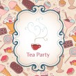 Tea party invitation vintage style frame — Stock Vector