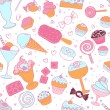 Seamless pattern with candies and sweets — Stock Vector