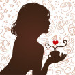 Silhouette of a girl drinking coffee — Stock Vector