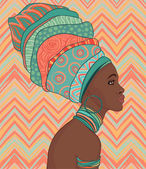 African woman in turban — Stok Vektör