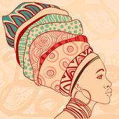 African woman in turban — Stock Vector
