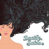 Spa-vacker asiatisk tjej med ett flödande hår — Stockvektor
