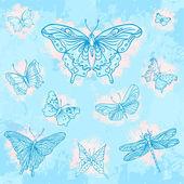Set di farfalle disegnate a mano d'epoca — Vettoriale Stock