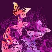 Bakgrund med fjärilar och blommor — Stockvektor