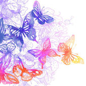 Background with butterflies and flowers — Stock Vector