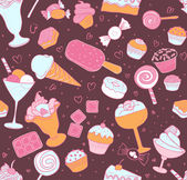 Pattern with candies and sweets — Stock Vector