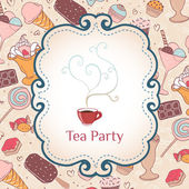 ティー パーティーの招待状ビンテージ スタイルのレイアウト枠 — ストックベクタ