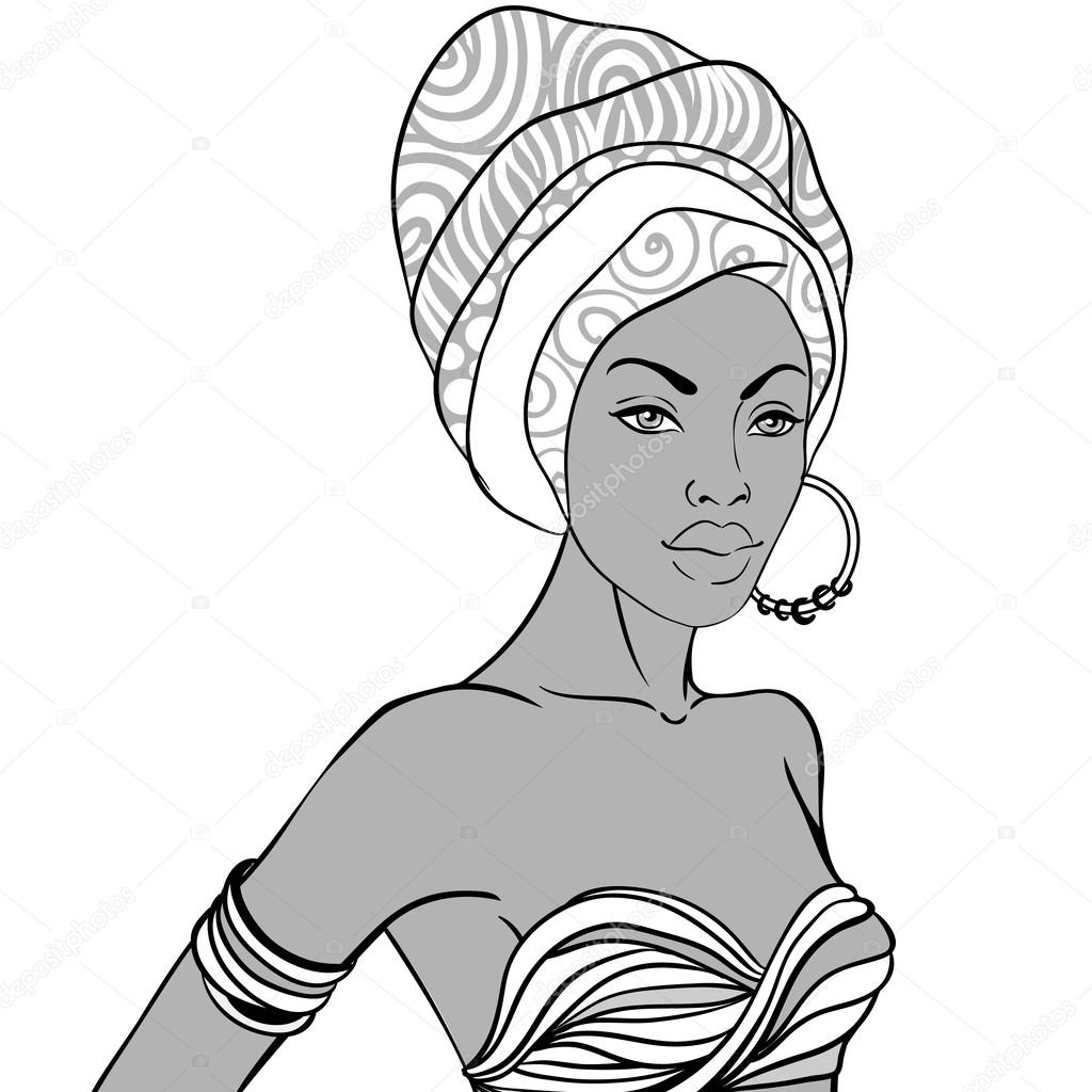Line Drawing Face Earrings : African woman with earring — stock vector vgorbash