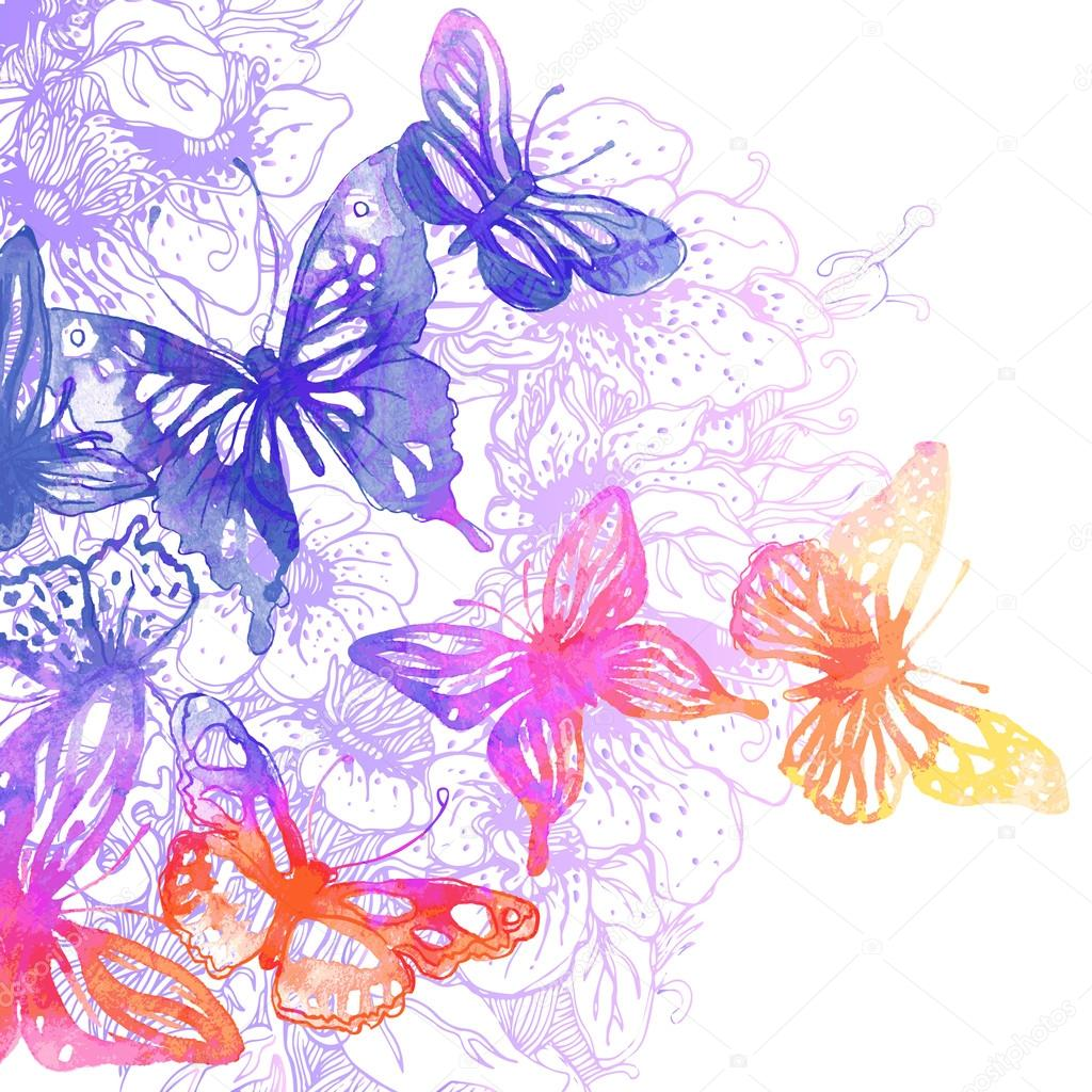Sfondo con farfalle e fiori vettoriali stock vgorbash for Sfondi con farfalle