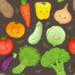 Cartoon funny vegetables pattern — Cтоковый вектор