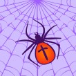 Halloween Spider hanging on the web — Stock Vector