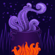 Halloween witches cauldron — Stock Vector