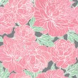 Seamless color peony pattern — Stock vektor