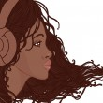 African american girl in headphones — Stock Vector #37528151