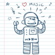 Music Robot. Vector Illustration funny doodles — Stock Vector