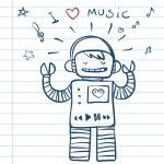 Music Robot. Vector Illustration funny doodles — Stock Vector