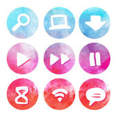 Purple and blue set of round watercolor icons — Stock Vector