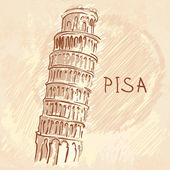 The Leaning Tower, Pisa, Italy — Stock Vector