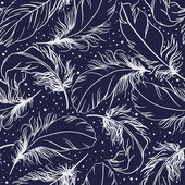 Vintage seamless pattern with feathers — Stock Vector