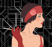 Flapper girl — Vettoriale Stock