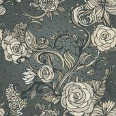 Vendimia de patrones sin fisuras con flores — Vector de stock