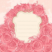 Beautiful roses design on beige background — Stock Vector