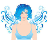 Mavi saçlı güzel kız — Stok Vektör