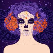 Mexican Sugar Skull girl — Stock Vector