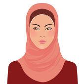 Muslim oriental beautiful girl in hijab — Stock Vector