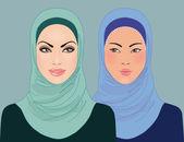 Islamische schöne mädchen in gemusterten hijab — Stockvektor