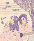 Couple of a hippy — Stock Vector