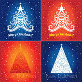 Set of Christmas tree background designs — Stock Vector
